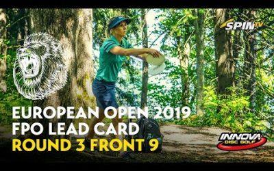 European Open 2019 FPO Lead Card Round 3 Front 9 (Pierce, Blomroos, Allen, Salonen)